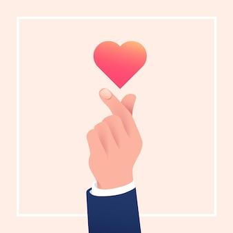 グラデーションの指の心