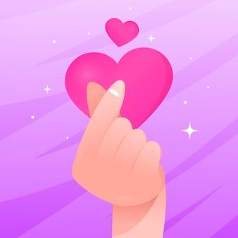 Градиентное сердце пальца