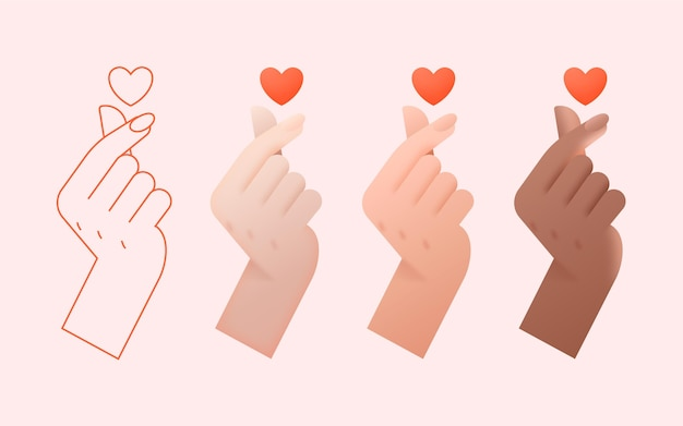 Gradient finger heart