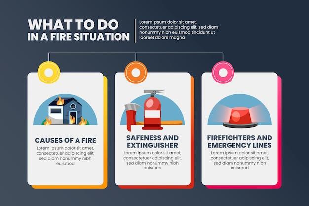 グラデーションの火のインフォグラフィックデザイン