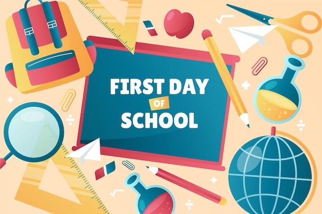 学校の背景の勾配初日