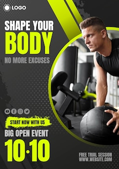 Gradient fitness club poster with photo template