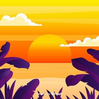 Gradient flat beach sunset landscape