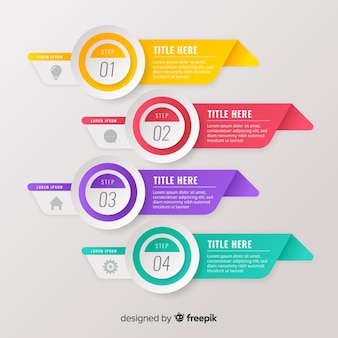 Gradient flat colorful step infographics