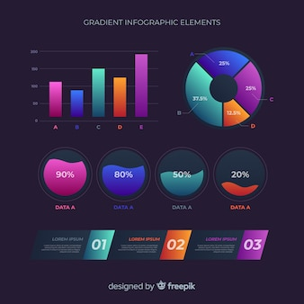 Gradient flat infographic element collection