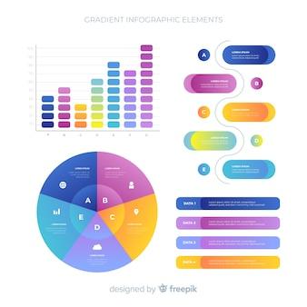 그라데이션 플랫 infographic 요소 컬렉션