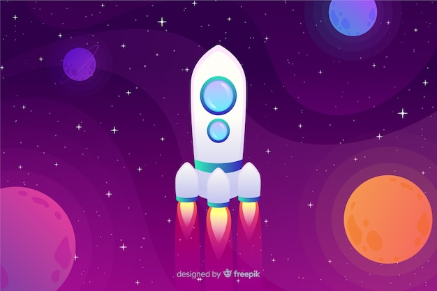Gradient flat rocket illustration