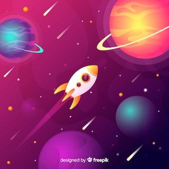 Gradient flat rocket traveling through the galaxy