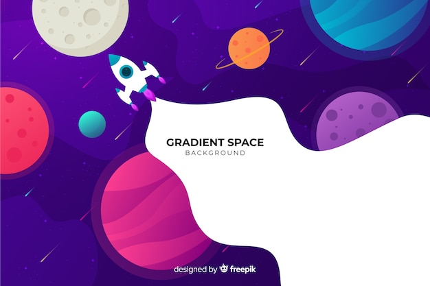 Gradient flat rocket traveling through the galaxy