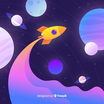 은하계를 통과하는 그라디언트 플랫 로켓
