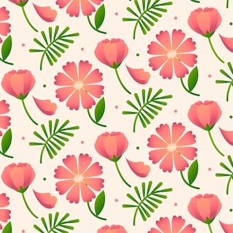복숭아 톤의 그라데이션 플로랄 패턴 디자인