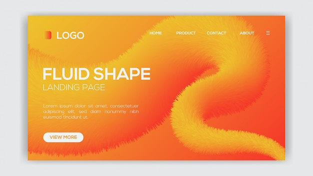 Gradient fluid liquid design for landing page or web template