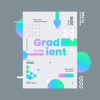 Gradient flyer or template design with abstract elements and venue details.