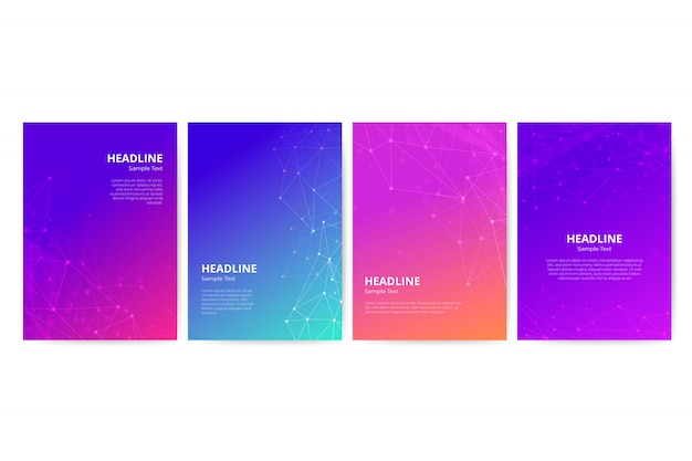 Gradient flyer template with geometric shapes set