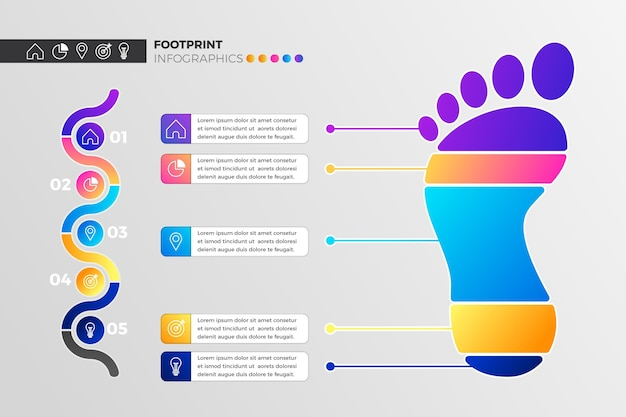 Gradient footprint infographic with details