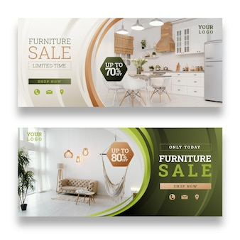 Gradient furniture sale banner template with photo