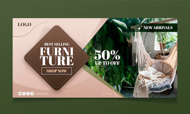 Gradient furniture sale banner template