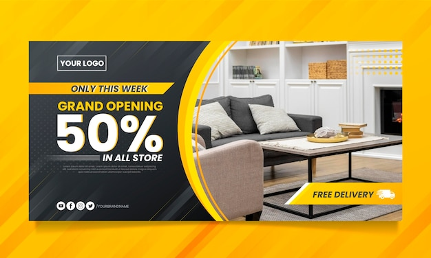 Gradient furniture sale banner with photo