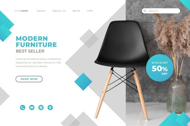 Modello di pagina di destinazione della vendita di mobili a gradiente con foto
