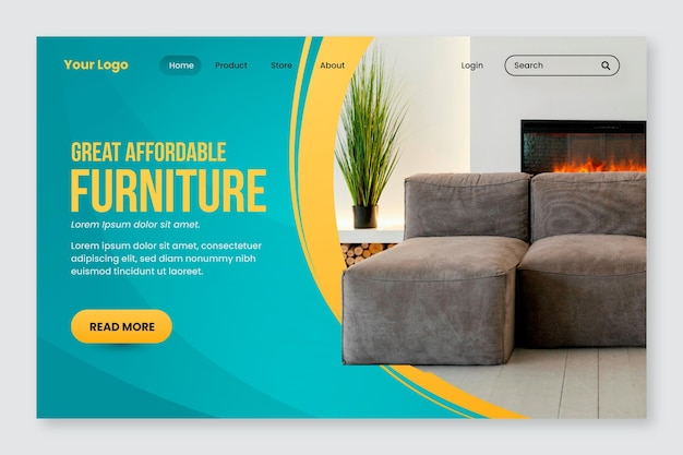 Gradient furniture sale landing page template