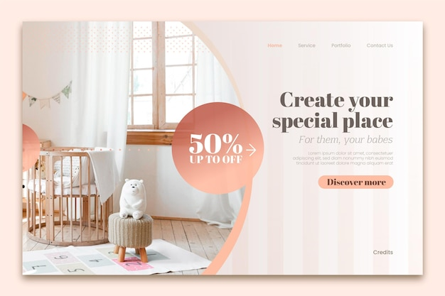 Gradient furniture sale landing page with photo