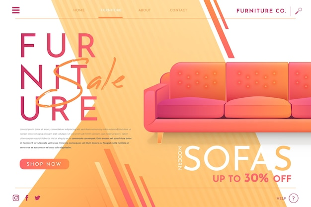 Gradient furniture sale landing page