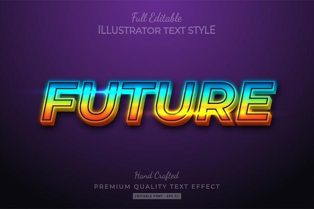 Gradient future editable 3d text style effect premium