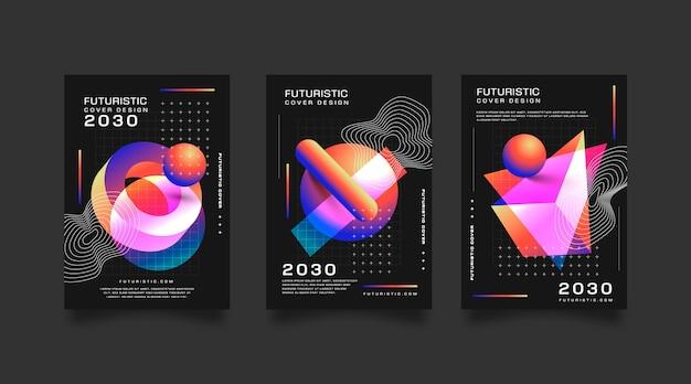 Коллекция градиентных футуристических обложек с абстрактными формами
