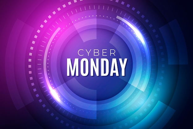 Gradient futuristic cyber monday background