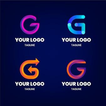 Коллекция логотипов с градиентными буквами g