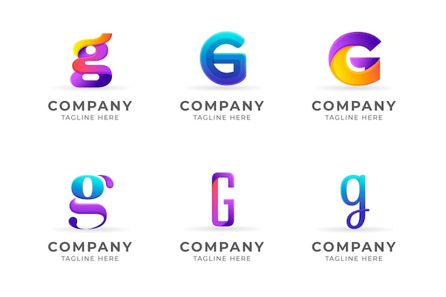 그라디언트 g 문자 로고 컬렉션