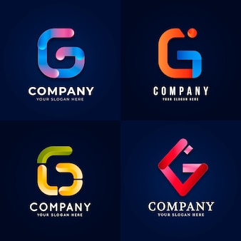 Gradient g letter logo collection