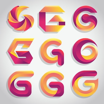 Набор градиентных букв с логотипом g