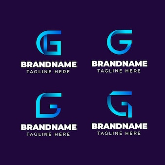 Gradient g letter logos set