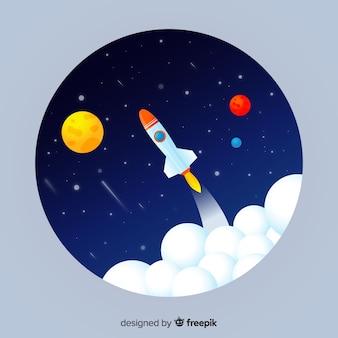 Градиентный фон галактики с ракетой