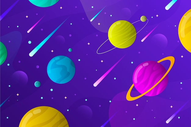 Gradient galaxy background with planets