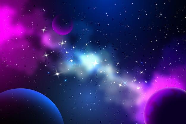 惑星と勾配銀河の背景