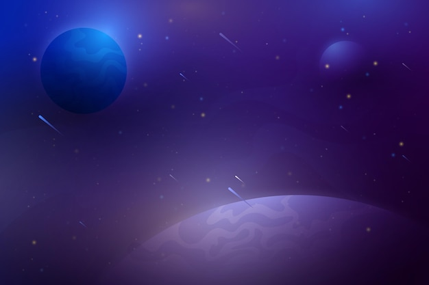 행성과 그라데이션 갤럭시 배경