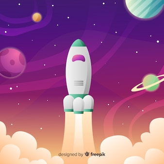 Gradient galaxy background with a rocket