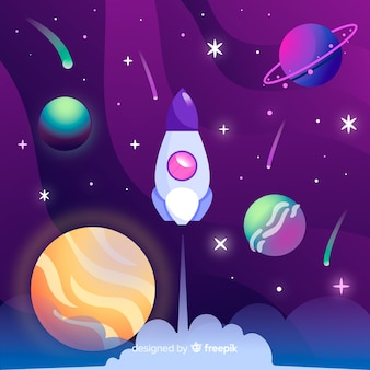 Gradient galaxy with rocket background