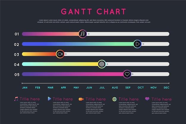 Gradient gantt chart infographic