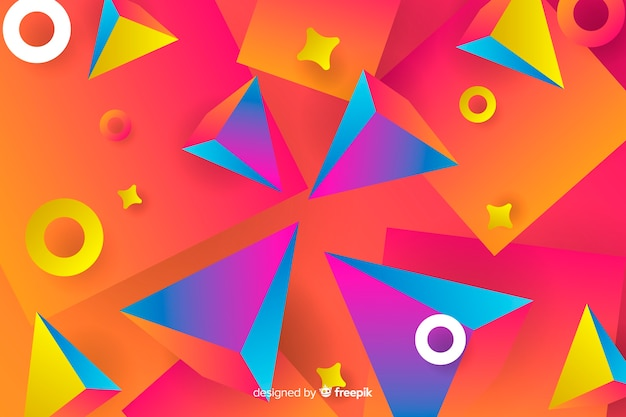 Gradient geometric 3d shapes background