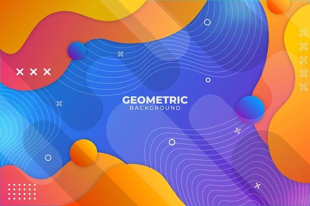 Градиент геометрического фона синий и оранжевый