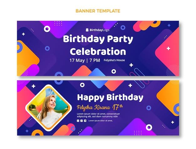 Gradient geometric birthday horizontal banners