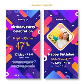 Gradient geometric birthday vertical banners