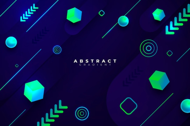 Gradient geometric concept on dark background