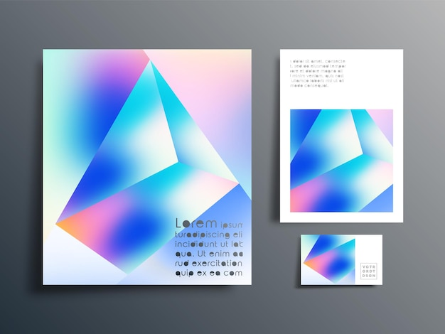 Gradient geometric design set for brochure, flyer cover, business card, abstract background, poster, or other printing products. vector illustration.
