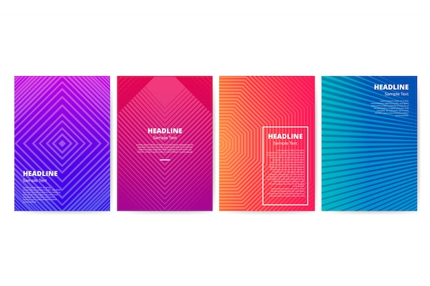 Gradient geometric flyer template set