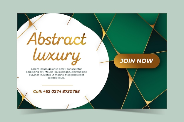 Gradient geometric green abstract luxury template