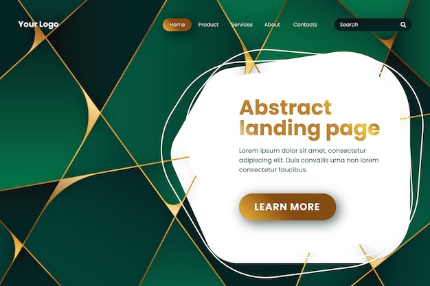 グラデーションの幾何学的な緑色のランディングページ